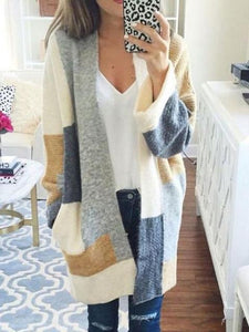 Contrast Color Long-sleeved Loose Knit Cardigan