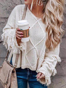 Casual Solid Color Fringed Sweater