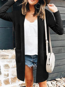 Fashion Solid Color Pocket Long Sleeve Mid-length Cardigan
