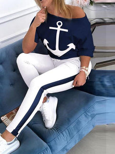 Navy Anchor Print Sporty Two-piece Set