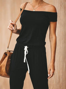 Off-The-Shoulder Lace-Up Relax Jumpsuit