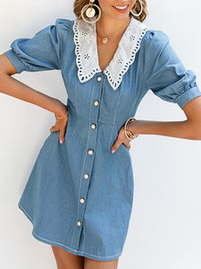 Chic Lace Lapel Neck Denim Blue Babydoll Dress