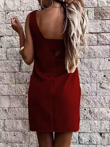 V Back Solid Color Mini Shift Dress