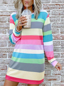 Casual Long Sleeve Multicolor Striped Dress