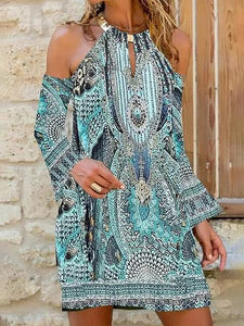 Bohemian Long Sleeve Cold Shoulder Printed Casual Dress