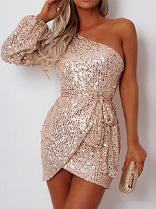 One-Shoulder Asymmetrical Sequin Party Dress