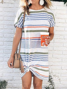 Casual Multicolor Striped Ankle-Length Tee Dress