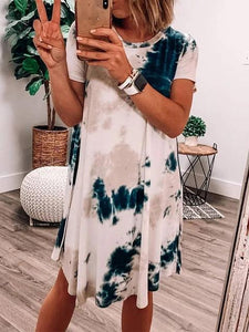 Tie-dye Round Collar On-trend Dress