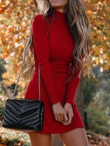 Turtleneck Bodycon Mini Club Red Dress