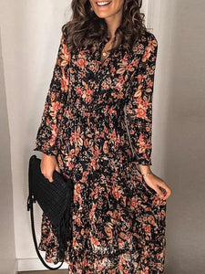 Chic Long Sleeve Floral Print Elastic Waist Shirt Dress