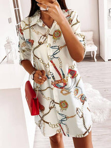 On Trend Chain Print Shirt Dress