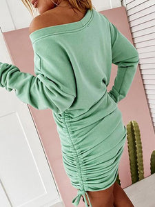 Big Round Neck Long-sleeved Drawstring Strappy Hip Dress