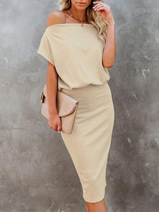 Solid Color Off-shoulder Bodycon Knit Dress
