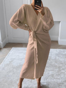 Casual Solid Color V-neck Sweater Dress