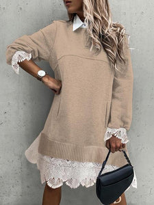 Lace Hem Stitching Shift Sweater Dresses