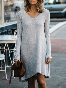 Casual V-Neck Solid Color T-Shirt Dress