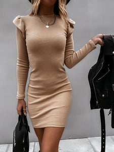 Ruffle Sleeve Solid Color Slim-Fit Ribbed Dress
