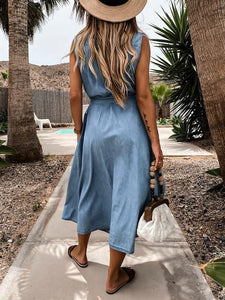 Casual Lapel Sleeveless Lace-Up Denim Dress