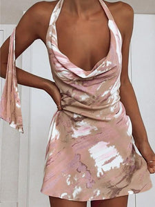 Printed Sexy Halter Neck Mini Dress