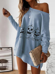 Long Sleeve Round Neck Skull Print Sweatshirt Dress