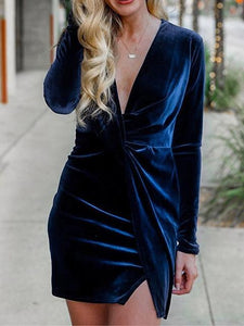 V-neck Slim Knot Front Velvet Evening Dress