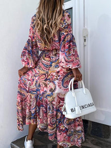 Printed Long-sleeved Loose-fitting Maxi Dress