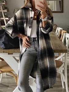 All-match Mid-length Flannel Plaid Coat