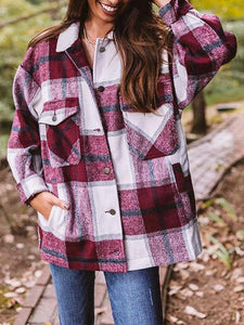 Rose Red Flannel Plaid Shirt Jacket