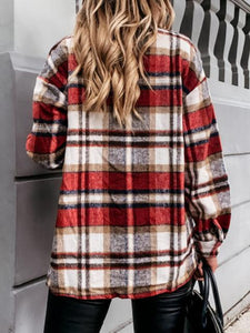 Long-sleeved Pockets Loose-fitting Plaid Jacket