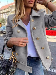 Fashion Double-breasted Button Woolen Coat