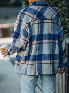 Casual Long Sleeve Plaid Pockets Woolen Jacket