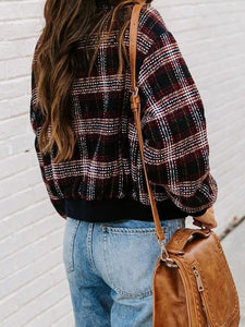 Multicolor Plaid Long Sleeve Pockets Bomber Jacket