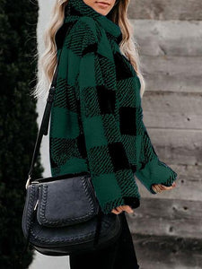 Stand Collar Long-sleeve Loose Plaid Pullover Coat