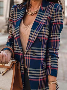 Long-Sleeved Check Double-Breasted Suit Jacket