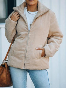 Casual Solid Color Corduroy Puffer Jacket
