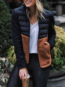 Patchwork Contrast Color Slim-Fit Down Jacket