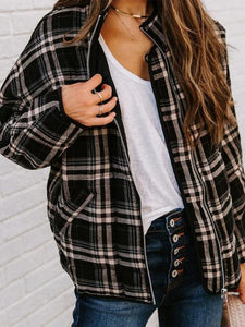 Casual Stand Neck Plaid Pocket Zip Up Jacket