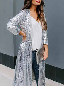 Fashion Chic Silver Sequined Belt Long Coat