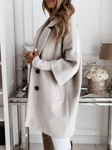 Lapel Neck Double Breasted Oversize Woolen Coat
