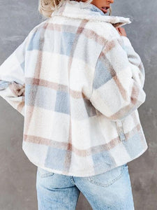 Winter Pocket Plaid Faux Fur Coat