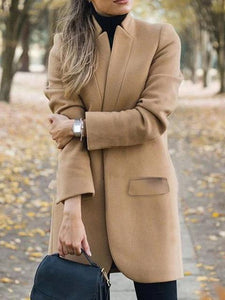 Fashion Solid Color Stand-Collar Woolen Coat