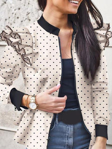 Long-sleeved Ruffled Zipper Print Coat
