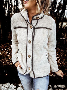 Casual Terry Fleece Stand Collar Stitching Coat