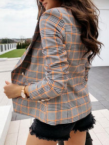 Long-sleeved Metal Buttons Double-breasted Plaid Blazer
