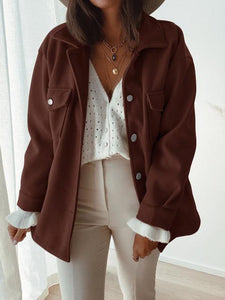 Casual Long Sleeve Lapel Pocket Buttoned Woolen Jacket