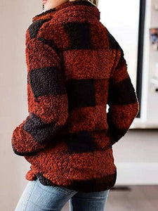 Loose Plaid Stand Collar Pullover Plush Coat