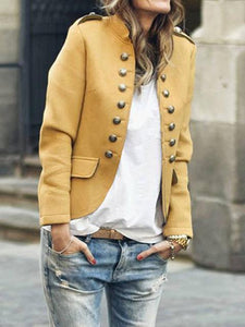 Fashion Stand-up Collar Double-breasted Jacket