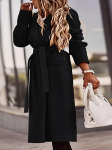 Elegant Lapel Neck Solid Color Mid-Length Overcoat