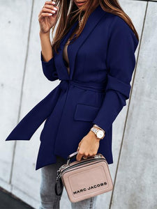 Casual Long Sleeve Lapel Button Lace-UP Blazer