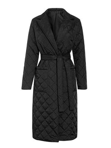 Diamond Pattern Cozy Windbread Long Puffer Coat